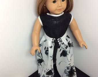 18 inch doll dress, overskirt and shoes