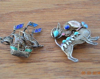 Two Brooch,Dog & Ship Chinese Export Enamel sterling silver gold-wash filigree,Wearable but Need TLC