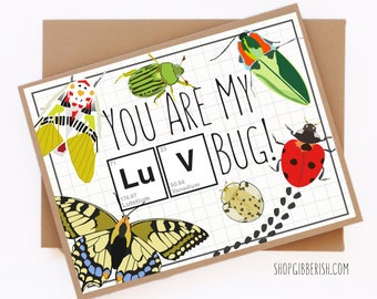 Luv Bug Valentines Day Card//Love Bug//Science Card//Chemistry Gift