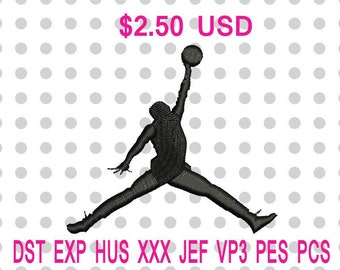 Jordan Jumpman Logo Machine Embroidery Design 6 Sizes-INSTANT DOWNLOAD