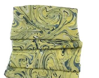 "One-of-a-kind Handmade Marbled Silk Scarf 11""x60"" - Allison"
