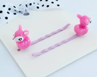 tiny deer lilac hair pins set of two for little girls hair accessories bobby pins