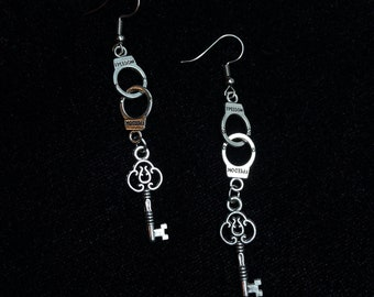 Crazy Handcuffs and Keys Silver Earrings -- Let's get naughty!!