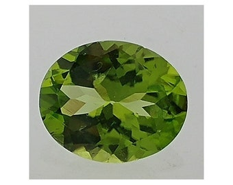 Oval Faceted Peridot 1pc 12x10mm
