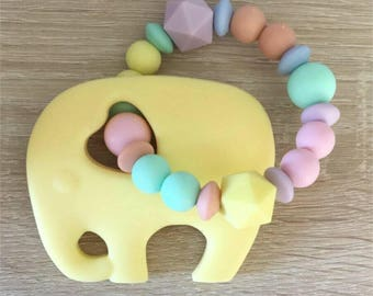 Baby silicone teething rattle colors