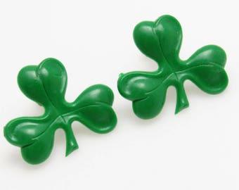 Shamrock Earrings Vintage Green Jewelry