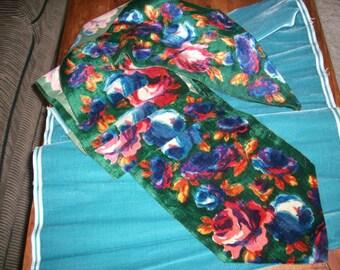 roses on a teal ground lovely silk velvet antique ribbon length
