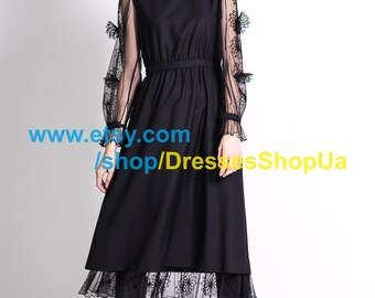 Wonderful black dress, free shipping around the world