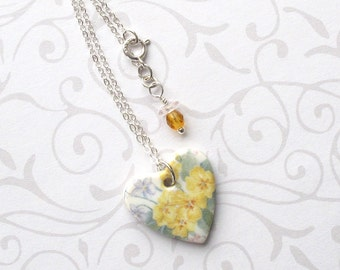 SALE! Heart Necklace. Yellow Primroses. Flowers. Porcelain. Blue Violets. Valentine's Day. Ceramic. Glass Beads. Shabby Chic. Sterling Chain