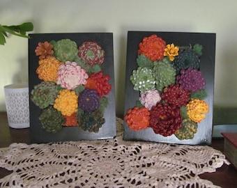 Faux living wall arrangement, set of 2(#1 & 3)