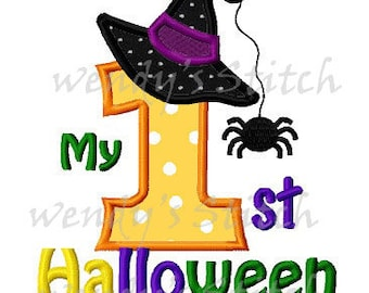 My first Halloween applique number machine embroidery design