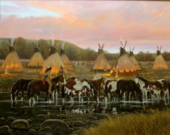 """Western Artist, Ron Stewart Oil Painting, """"In The Morning Glow"""",#776"""