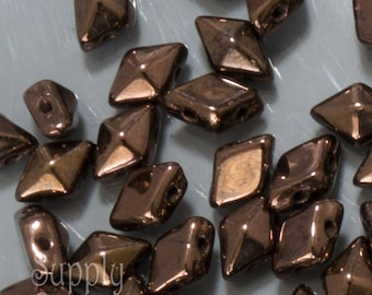 Dark Bronze Diamonduo Two Hole Beads - 9 Grams, 1080, Dark Bronze Diamonduo Two Hole Beads