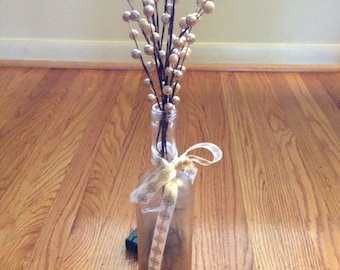 Silver & Gold Wine Bottle Centerpiece - Battery Operated