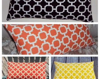 Geometric Lattice Outdoor Lumbar Pillow Cover - Available In 3 Sizes and 6 Different Colors