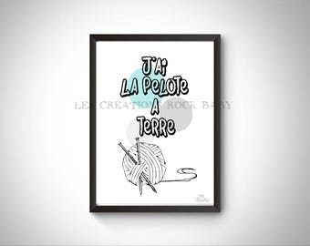 Humorous artwork, knitting quote fatigue, instant download gift, knitter, Word, two-way