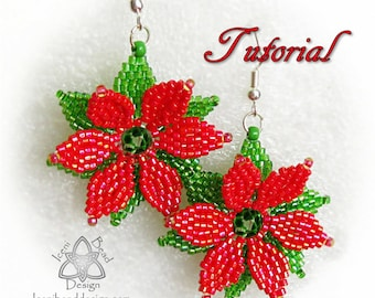 Bead Pattern: Christmas Poinsettia Earrings with Faceted Crystal beads and Seed beads. pdf. tutorial