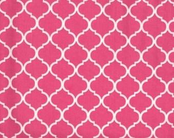 Mini Quatrefoil Fabric White on Hot Pink Flamingo 100% Cotton