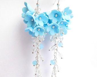 Girlfriend gift Long blue earrings Blue flower cluster Birthday gift for her Flower jewelry Blue floral jewelry Teenager gift Women earrings