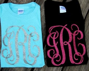 Glitter monogram shirt LONG SLEEVE - Personalized Shirt - Bridesmade Gift - Womans Monogrammed Shirt