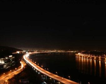 VENTE : la photographie de nuit (urbain route sentiers de lumière noir orange moderne Séoul en Corée voyage photographie murale art décoration impression photo)