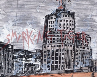 St Paul Print: Twin Cities Cityscape featuring Downtown St Paul and the First Bank Building , 8X10
