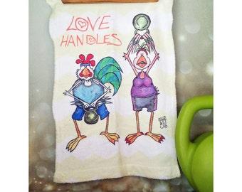 Poignées d'amour d'entraînement serviette Inspiration Citron Chevron Kettle Bell Fitness homme femme 11 x 18