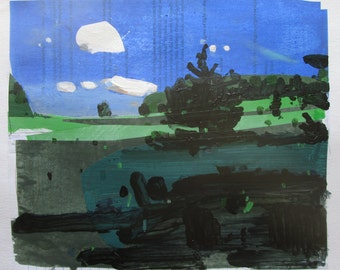 Entrance, Original Summer Landscape Collage Painting on Paper, Stooshinoff