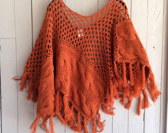 Rust colored, soft, fringe frock or cape
