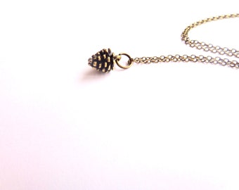 Tiny Pinecone Necklace.  Brass Pinecone Necklace.