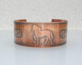Horse Cuff Bracelet Equine Jewelry Copper Jewelry Unisex Bracelet Western Jewelry Unisex Jewelry
