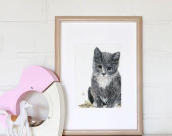 Children's bedroom / Nursery Wall Art, Mini Print of Original Pencil Illustration, Kitten, Cat