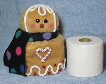 """Gingerbread pattern:  """"Gingerbread Toilet Paper Roll Cover"""" - #664"""