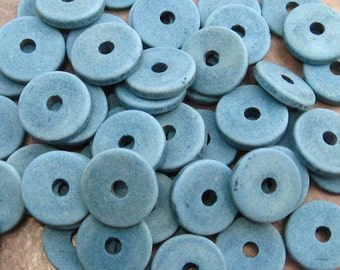 10 Mykonos Greek Ceramic Beads Denim 13mm Washer Disk Beads