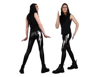 Mens Leggings w. Lightning Bolts, Meggings, Spandex Pants, Glam Rock, Burning Man Men, Festival Clothes Men, Rocker Leggings, LENA QUIST