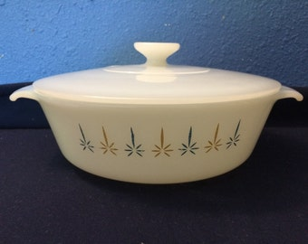 Vintage Fire King Anchor Hocking Candleglow Covered Casserole, 1 Quart