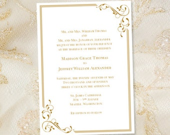 """Printable Wedding Invitation Template """"Elegance"""" Gold Also Suitable for a 50th or Golden Anniversary Instant Download ANY COLOR DIY U Print"""