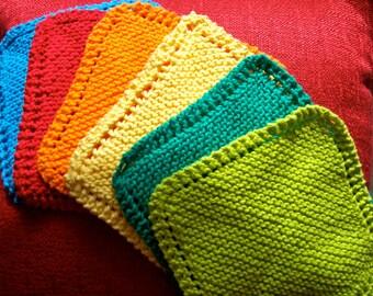 SALE Hand Knitted Washcloth/Dishcloth (Quantity 5)