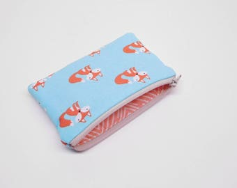 blue orange fox change purse, orange blue fox coin purse, woodland animals zipper pouch, fox zipper bag, small fox wallet, small fox purse