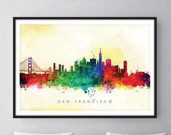 San Francisco Skyline, San Francisco California Cityscape Art Print, Wall Art, Watercolor, Watercolour Art Decor – SWSFO04