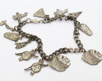 "Vintage c. 1960s Western Southwest Tribal Charm Bracelet No Clasp 7"". [1255]"
