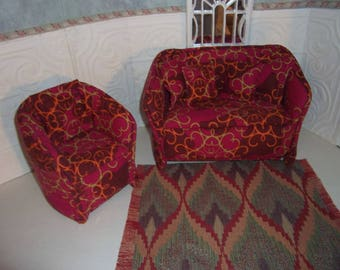 1:6th scale Barbie Dollhouse Handcrafted Furniture Upholstered Sofa & Chair Set BARBIE BLYTHE Living Room Bedroom Multi-Colored Red  Carpet