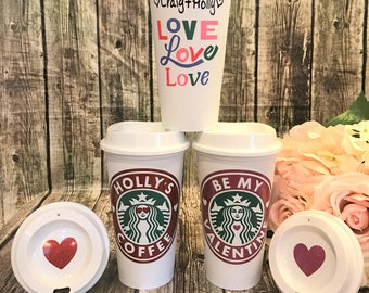 Starbucks Cup LIMITED EDITION Love Love Love • Personalized Coffee Cup • Custom Coffee Mug [girlfriend gift, Valentines gift, gift for her]