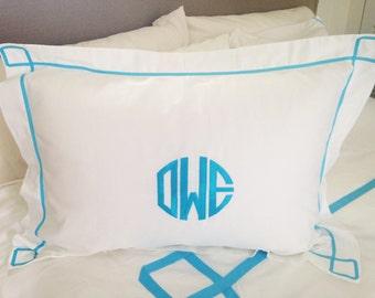 Monogram Standard Pillow Sham with Ribbon Trestle Trim / Monogram Bedding / Graduation Gift