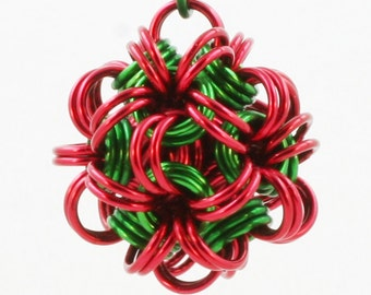Jewelry Dodecahedron Chain Maille Pendant Red & Green