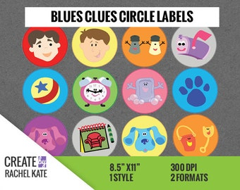 """Blues Clues 2 Inch 2"""" Circle Round Sticker Labels Cupcake Toppers Tags Favors"""