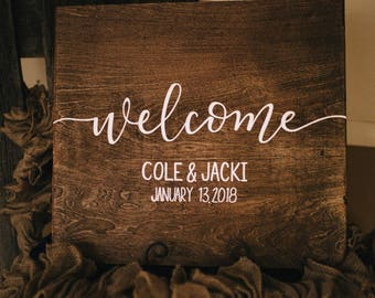 Welcome wedding sign / rustic wedding decor / 20x20 / stained / names and date /