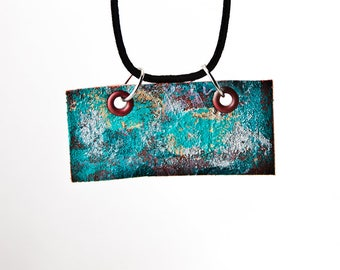Turquoise Colorful Funky Necklace - Unique Long Turquoise Necklace