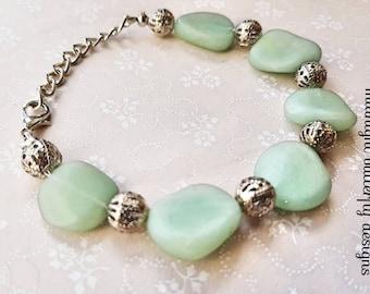 Faux Sea Glass Bracelet, Mermaids Tears Faux Glass, Dwarven Range, Green Silver Bracelet