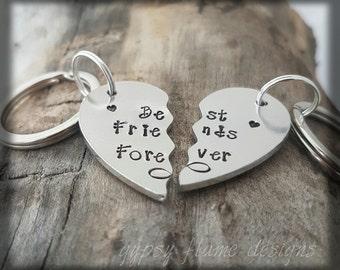 Best friend keyring friend keyring friend gift  personalised keyring personalized keychain  sister gift sister keyring heart keyring